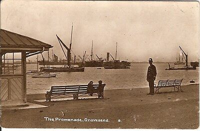 """Collectable vintage RP postcard of Promenade with """"Bobby"""" in Gravesend, Kent"""