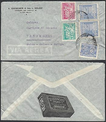 Bolivia -  Used cover to Tenero (TIC) (Switzerland)...............(G23673) A4921