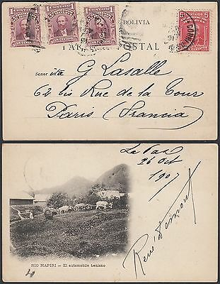 Bolivia 1907 -  Used postcard to Paris (France) ..................(G23673) A4923