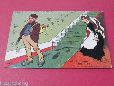What is home without a plumber Tom Browne Tom B Original Artist Drawn Postcard