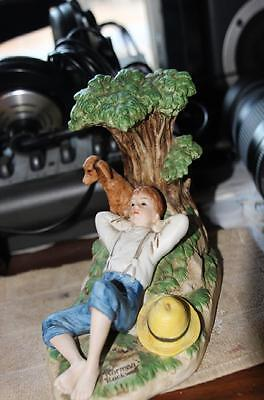 """Norman Rockwell """"spring Fever""""  Figure Boy And Dog By A Tree Relaxing Beautiful"""