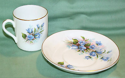 Royal Grafton Demitasse Cup & Saucer Bluebell Pattern Pretty Look!