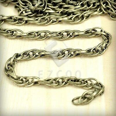 2m 6.56feet Unfinished Bulk Chain Woven Curb Antique Brass 3.58(Width)mm CA