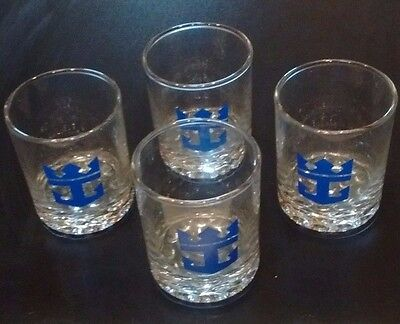 4 Royal Caribbean Cruise Ship Line Glasses Vintage Bubble Pebble Bottom