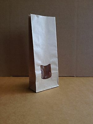 100 x 125g kraft window paper bags, ideal for small treat gifts.