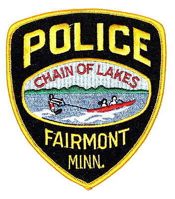 FAIRMONT MINNESOTA MN Police Sheriff Patch JET BOAT SKIING CHAIN LAKES ~