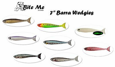 """7"""" Bite Me Lures BARRA WEDGIES Mullet Kingfish Soft Plastic Shad Fishing Lures"""