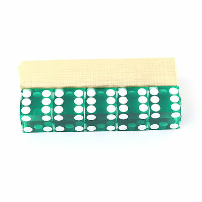 Green Casino Professhional Dice Craps 19mm Grade Set of 5 Razor Edge Stick