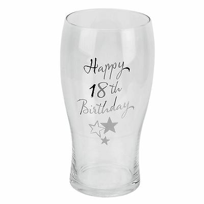 Birthdays by Juliana Happy 18th Birthday Pint Glass with Silver Print and Stars