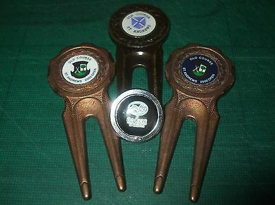 3 x OLD COURSE ST ANDREWS Divot Repair Tools + Scuffed ballmarker