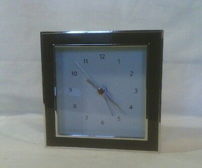 Restoration Hardware Small, Square Chrome Table Clock with Alarm