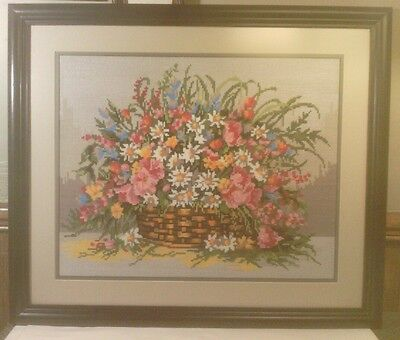 """Completed Cross Stitch, Basket of Flowers, Pro Matted & Framed, 26.5"""" x 22.5"""""""