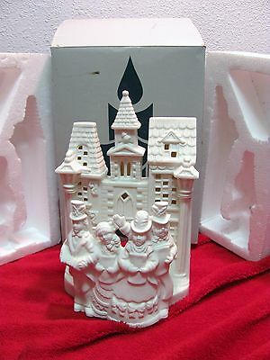 """Partylite Village Carolers. PO204 """"RETIRED"""" Candle Holder White Christmas Church"""