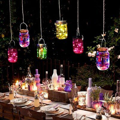 Battery Mason Jar Lid Lights LED Fairy Starry Night Light Walkway Xmas Decor