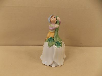 Ceramic Flower Shaped Bell with Pixie Elf and Four Leaf Clovers by Avon 1983