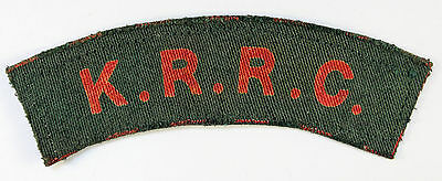 K.R.R.C. WW2 Printed Shoulder Title Badge