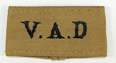 V.A.D. WW2 Embroidered K.D. Slip-On Shoulder Title Badge