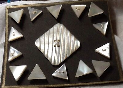 Antique Mother Of Pearl Triangle And Square Buttons