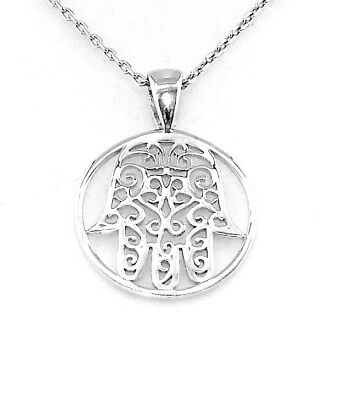 Rhodium Plated 925 Hallmarked Silver Filigree Hamsa Hand Polished Disc Pendant