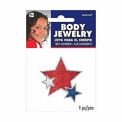 Patriotic Fourth of July Red White and Blue Stars Glitter Body Jewelry Access...
