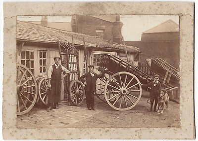 Victorian Wheelwrights Yard Carriage Repair - Antique Albumen Photograph c1880