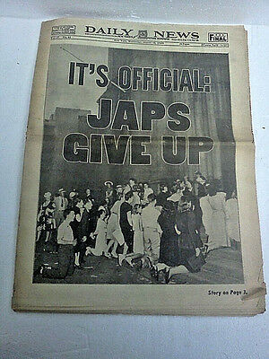 "VTG Orig. World War II Aug15th 1945 ""Japs give up"" New York Daily News newspaper"
