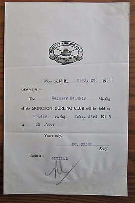 Rare 103 Year Old Moncton Curling Club  Letter 1914 Brook Pin Stone Rock Sweep
