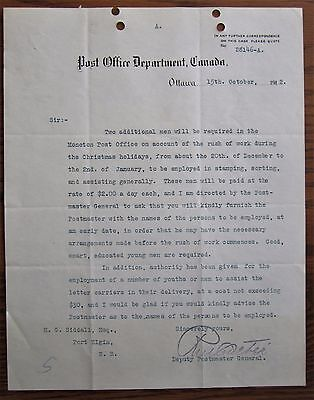 Rare 106 Year Old Canada Post Letter Post Master General Men Needed $2 Per Day