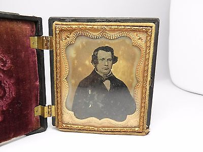 Victorian Daguerreotype Silver Copper Plate Photograph In Ornate Frame