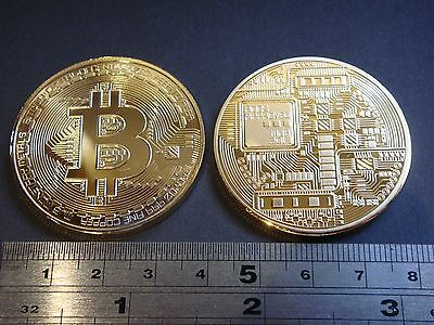 Bitcoin commemorative coin medallion crown size gold plated excellent quality!