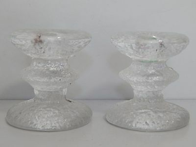 Pair of IIttala Festivo candle holders from Finland 7.5cm high c1966 signed