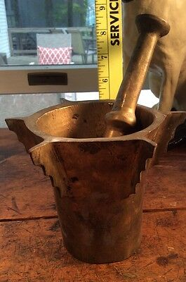antique thick ornate solid brass apothecary medicine mortar and pestle jar