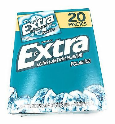 Wrigley's Extra Gum Polar Ice 20 Pack 300 Sticks Exp 5/18 Sugar Free 2nd 15% off