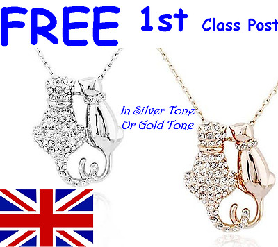 GIFT IDEA FOR LADIES or GIRLS - CAT/KITTEN RHINESTONE CRYSTAL PENDANT NECKLACE