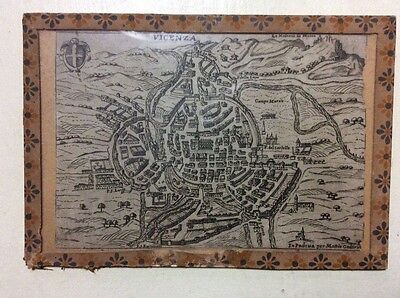 Incisione antica Mattia Cadorin 1645 originale Vicenza mappa Maps