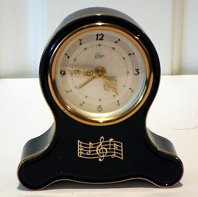 Vintage 1950's 1960's Emes Metal Mantel Musical Alarm Clock Made In Germany
