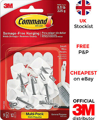 3M Command Small Wire Hooks with Strips for Damage Free Hanging - Pack of 9
