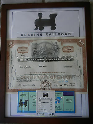 Monopoly Rail Road Art including Antique Stock Certificates (set of 4)