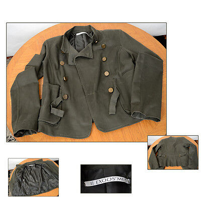 Ladies Vintage Casual Military Style Green Jacket Double Breasted size Med