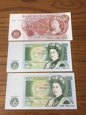 British Banknotes X 3 Unc £1 And 10 Shillings