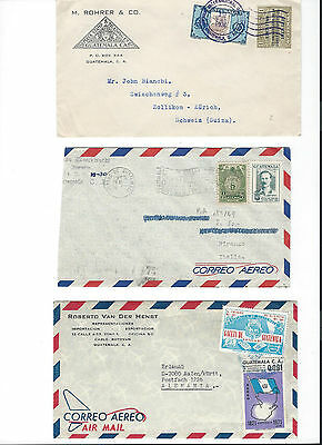 3 covers from Guatemala to Zûrich Germany Italia see scans and details.