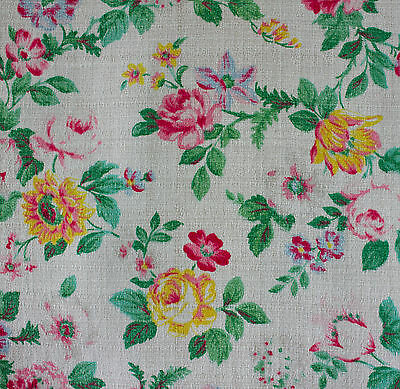 vintage 1950s floral print cotton barkcloth fabric