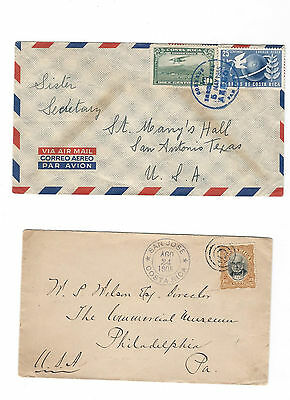 2 covers from Costa Rica to San Antonio - Philadelphia - see scans and details.