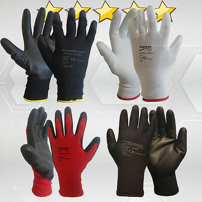 24 Pairs New Pu Coated Work Gloves Builders Mechanic Construction Garden Grip
