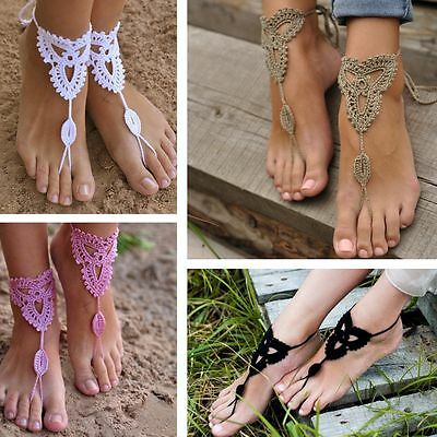 Boho Ankle Chain Barefoot Sandals Crochet Cotton Foot Jewelry Anklet Bracelet
