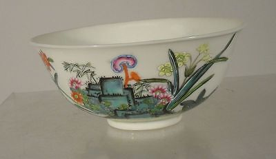 Antique Chinese Enameled Landscape Painting Bowl Reign Mark Qianlong Republic