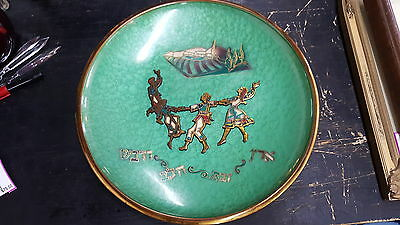 Vintage Judaica Tray Made In Israel C1950's Green