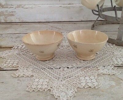 Set of 2 Antique French Cream Ironstone Cafe Au Lait Bowls