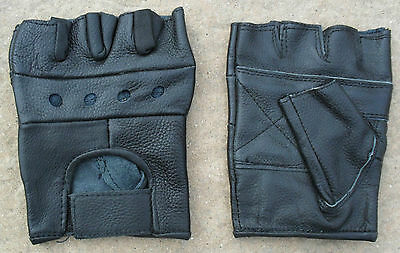 Motorcycle Motorbiker Driving Cycling Gym Black Real Leather Fingerless Gloves