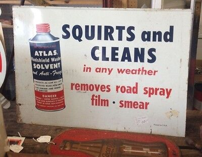 Vintage ATLAS Metal Sign, Two Sided, Atlas Wiper Blades and Atlas Cleaner